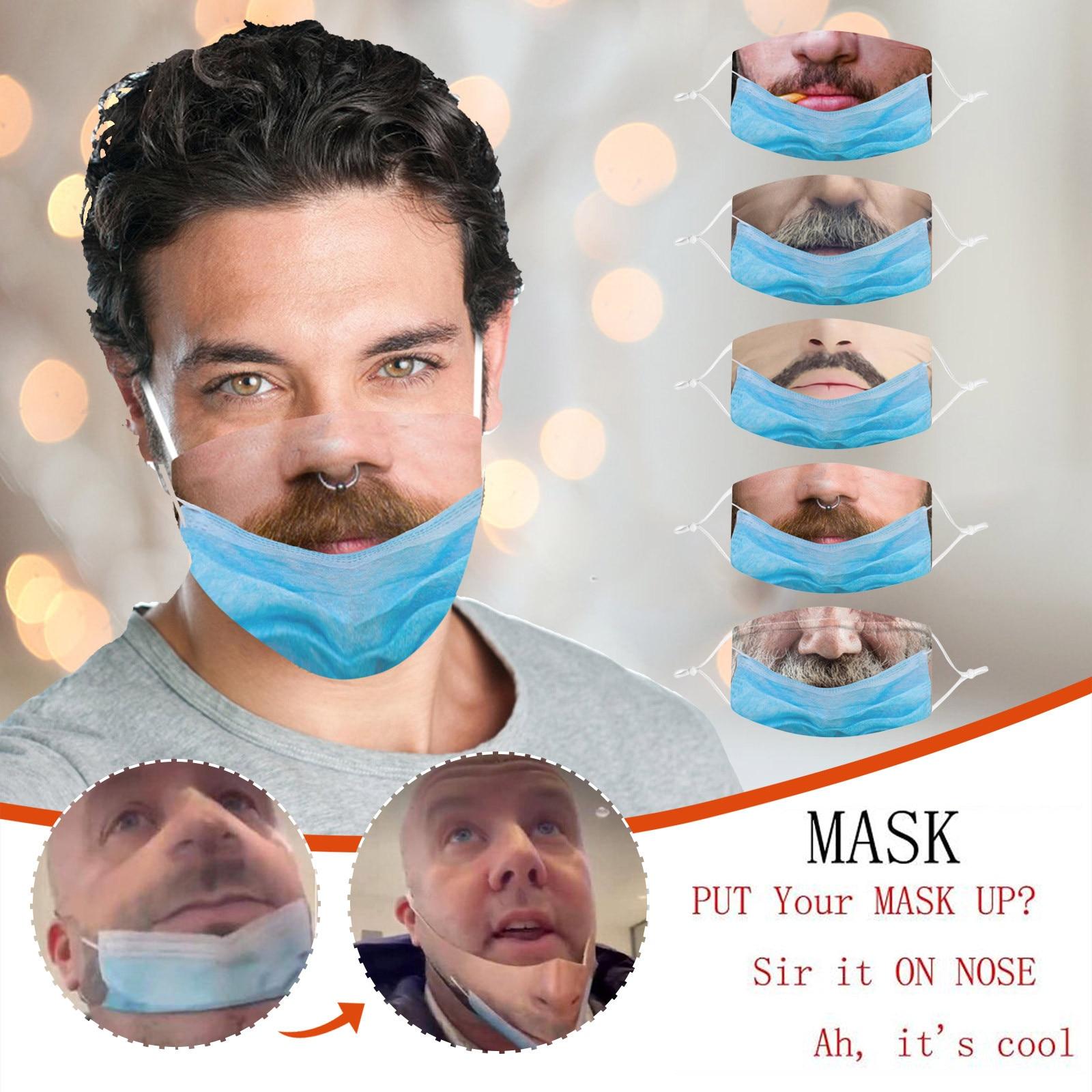 Mascarilla facial con estampado divertido, máscara facial creativa de imitación de no...