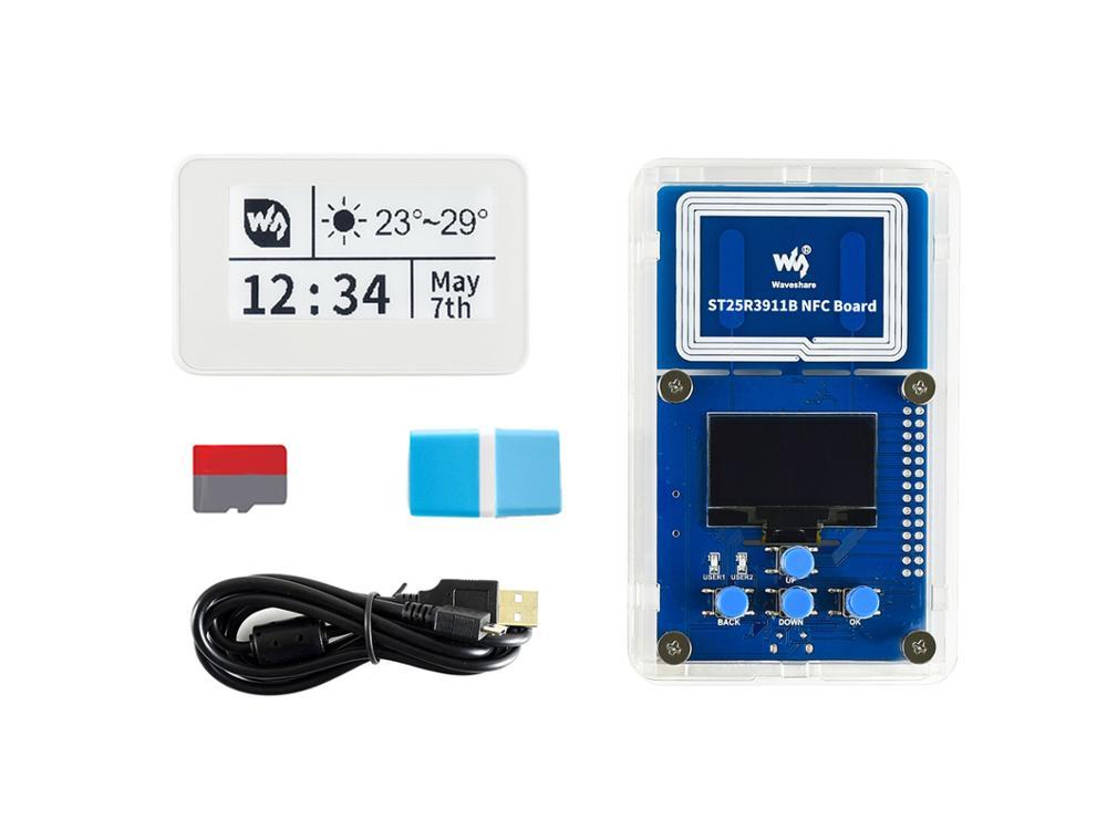 مجموعة إيفال للورق الإلكتروني NFC مقاس 2.13 بوصة ، مع قارئ NFC ، وبطاقة Micro SD ، وملحقات أساسية