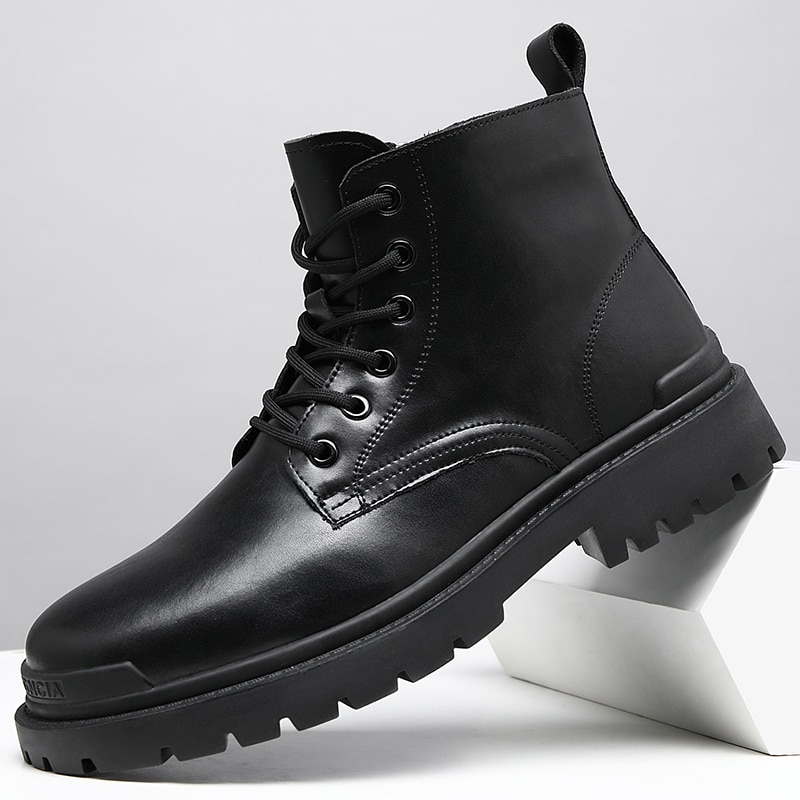 Men Boots Retro Fashion Tooling Boots Leather Casual Martin Shoes Comfortable Motorcycle Boots Breathable Business Office Boots the new winter boots leather men and retro zipper flat all match martin boots casual shoes breathable handmade fashion british