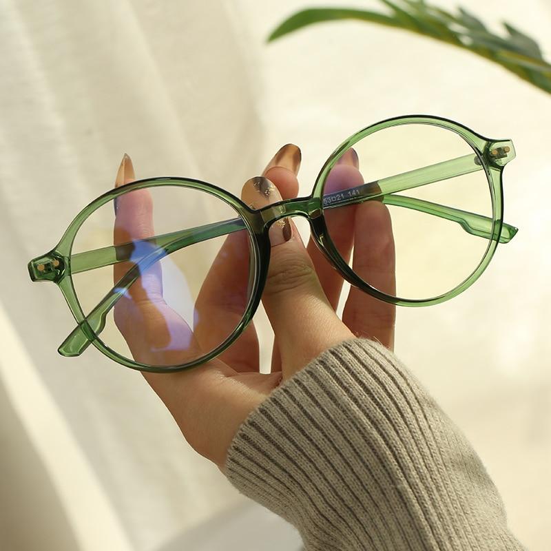 Круглые компьютерные очки с защитой от синего света, женские очки с блокировкой, классические черные прозрачные цветные очки с защитой от у...