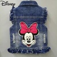 disney cartoon cute mickey minnie 2021 new childrens denim jacket female spring and autumn jacket