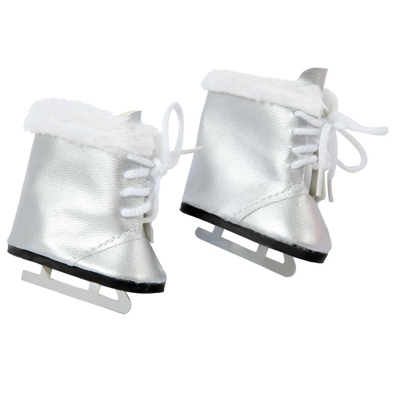 2021 New Fit 17 inch 43cm Baby New Born Doll Shoes Accessories Silver Plush Skates For Baby Birthday Gift недорого