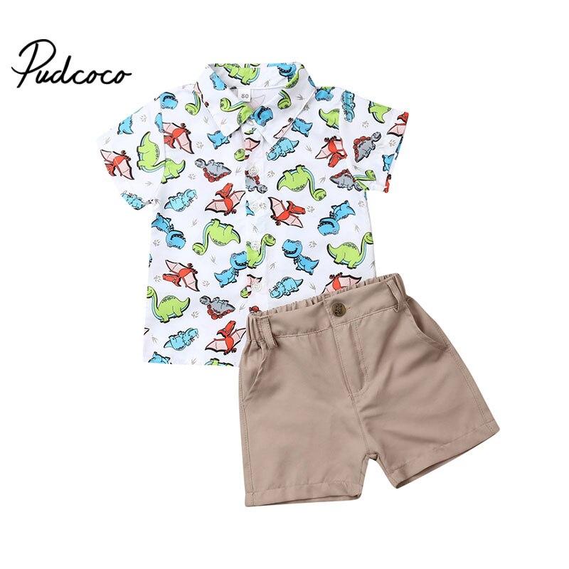 Ropa de niños pudcoco trajes para niños ropa niños niño Enfant Fille infantil trajes dinosaurio dibujos animados vestido camisa pantalones cortos