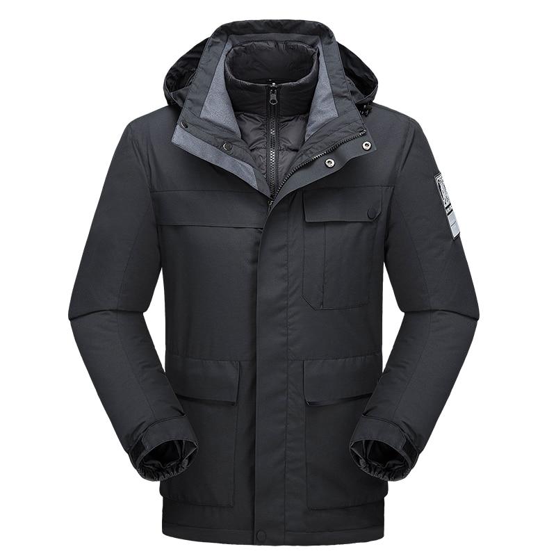 Parka Men Winter Jacket Two Jackets in One Thick Warm Windbreakers Hooded Waterproof Multi Pockets Windproof Male Snow Jackets