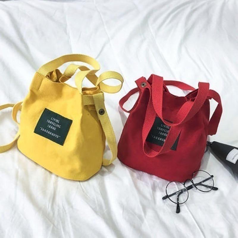 Canvas Crossbody Bags For Women Single Shoulder Bag Vintage Corduroy Bucket Shoulder Handbags Bolsa
