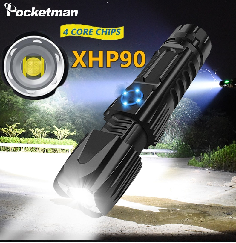 Linterna LED XHP90.2 más brillante linterna táctica impermeable control de chip inteligente con cono de ataque inferior recargable por USB