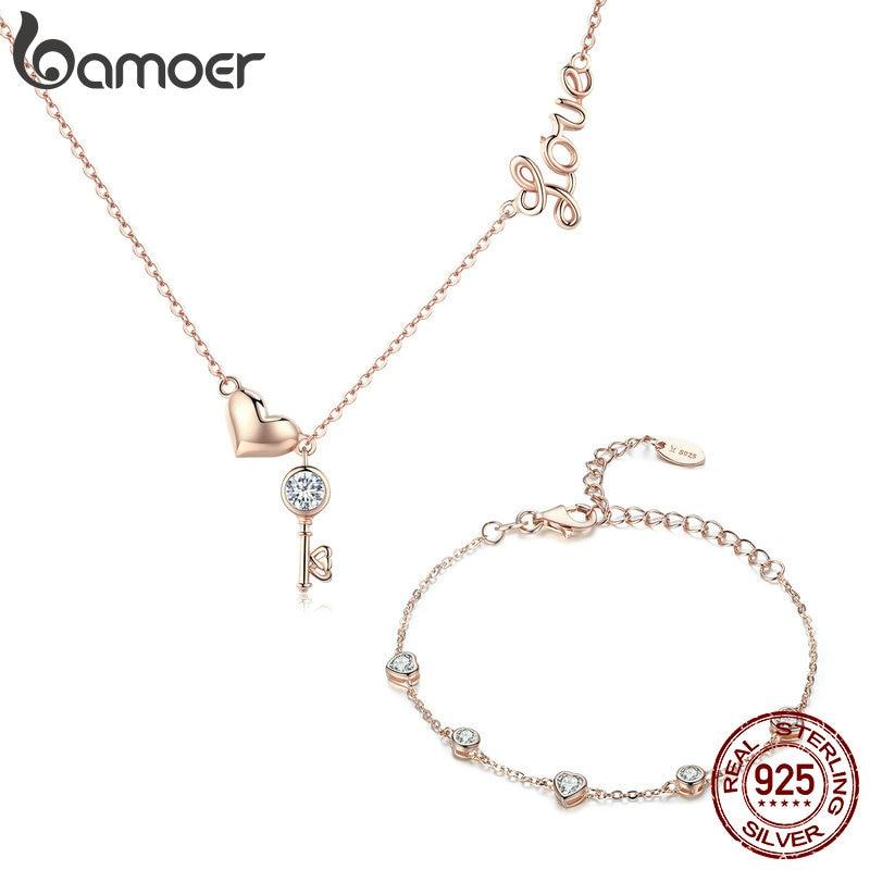BAMOER серебро 925 пробы с замком для ключей, золотые ожерелья, браслеты, ювелирные изделия, свадебные наборы, подлинные серебряные ювелирные из...