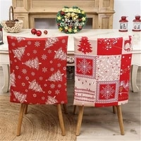 christmas decoration chair cover polyester santa claus red printing dining chair cover for home wedding party supplies xmas 2022