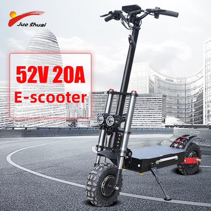 52V 20AH batería de litio 2000W/2600W adulto E Scooter con asiento plegable hoverboard 11 pulgadas neumático gordo patineta eléctrica