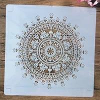 3030cm mandala wheel crown diy layering stencils wall painting scrapbook embossing hollow embellishment printing lace ruler