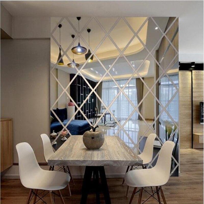 Acrylic Mirror Wall Sticker Diamonds Modern Design Wall Art Decor 3D DIY Wall Decals Art for Living Room Home Decoration 3 Sizes