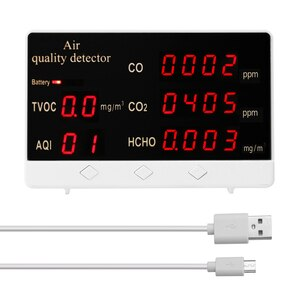 Multifunctional Digital Display High Accuracy CO CO2 HCHO TVOC Detector Air Quality Analyzer Monitor