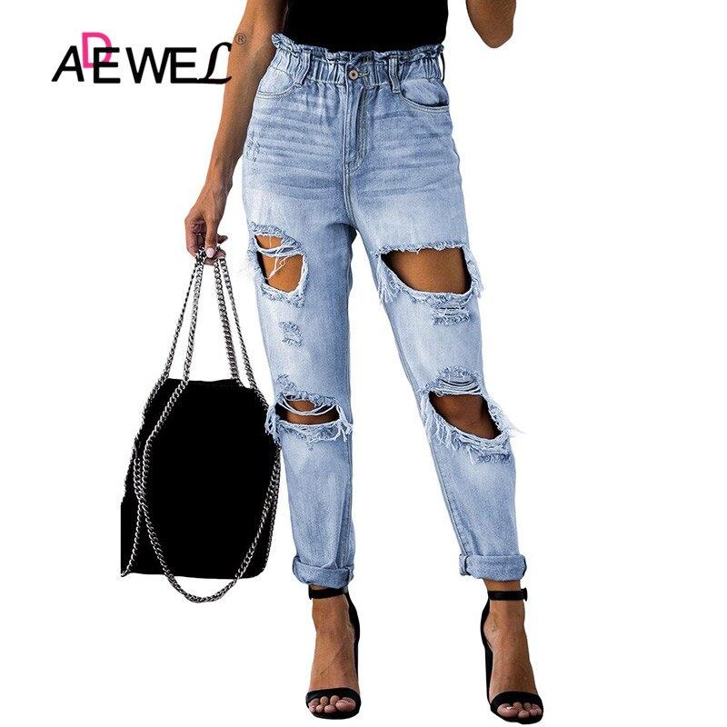 ADEWEL bolsa de papel desgastado cintura Denim otoño Pantalones mujer Jeans pantalones sueltos pantalones para novio Casual Agujeros grandes rasgado mujeres Denim
