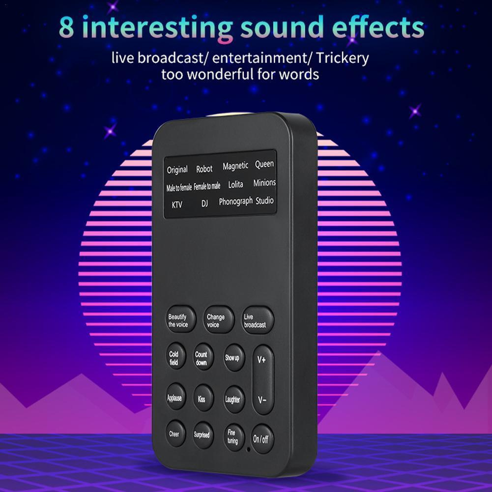 Mini Multi Voice Changer Adapter Microphone Audio Sound Broadcast Mobile PC Universal Phone Game Card For Live Sing and J8H5