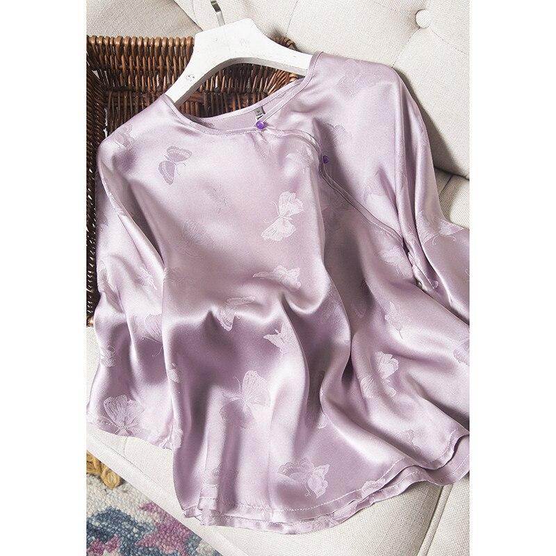 Women's Summer Tee Classic Beautiful Silk Shirt Light Purple Jacquard Shirt