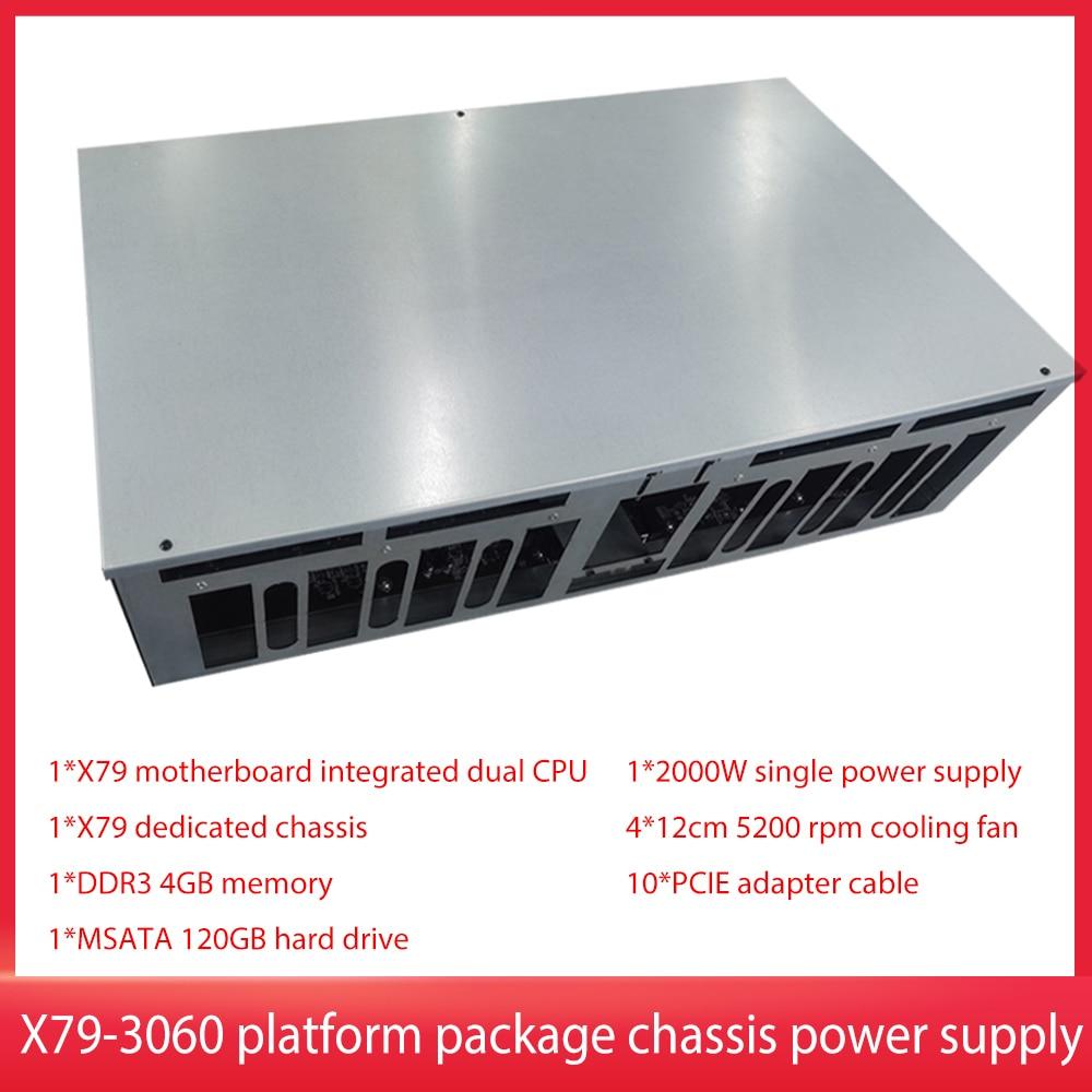 BTC X79-3060 اللوحة الأم المتكاملة وحدة معالجة الرسومات الهيكل DDR3 4GB/8GB الذاكرة MSATA 120GB القرص الصلب 2000 واط 5200 RPM مروحة التبريد PCIE كابل
