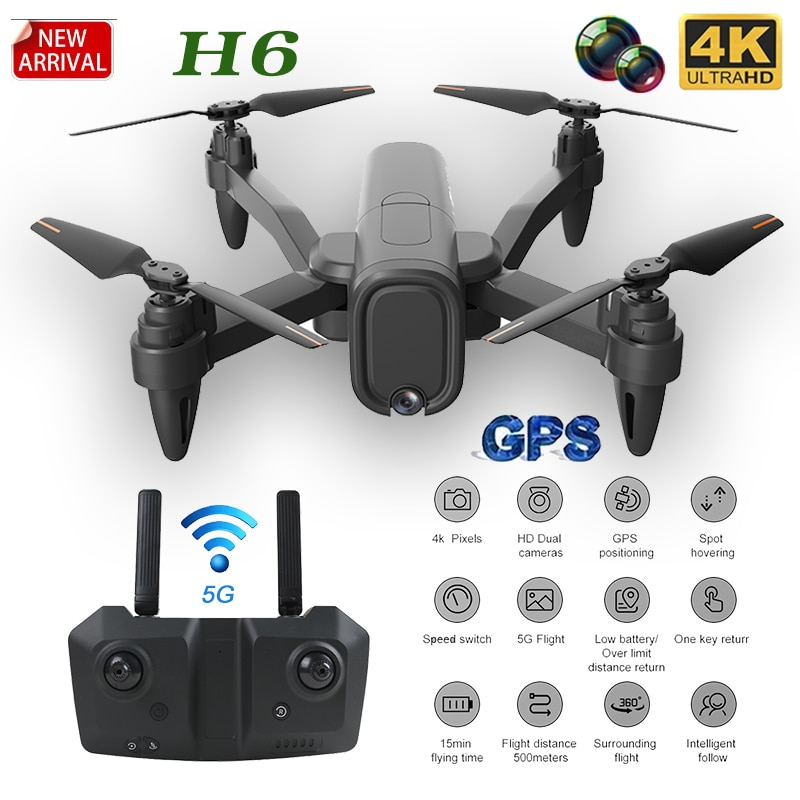 2020 NEW RC Drone H6 GPS 2.4G/5G WIFI FPV 4k HD Dual Camera  Aerial Photography Flight Time 25 Minutes Foldable Quadcopter