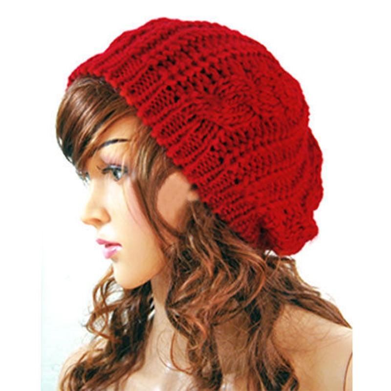 Winter Hat Beanies Women Wool Knitted Solid Beanie Women Hats Warm Crochet Beret Hat Ski Cap Hats Fe