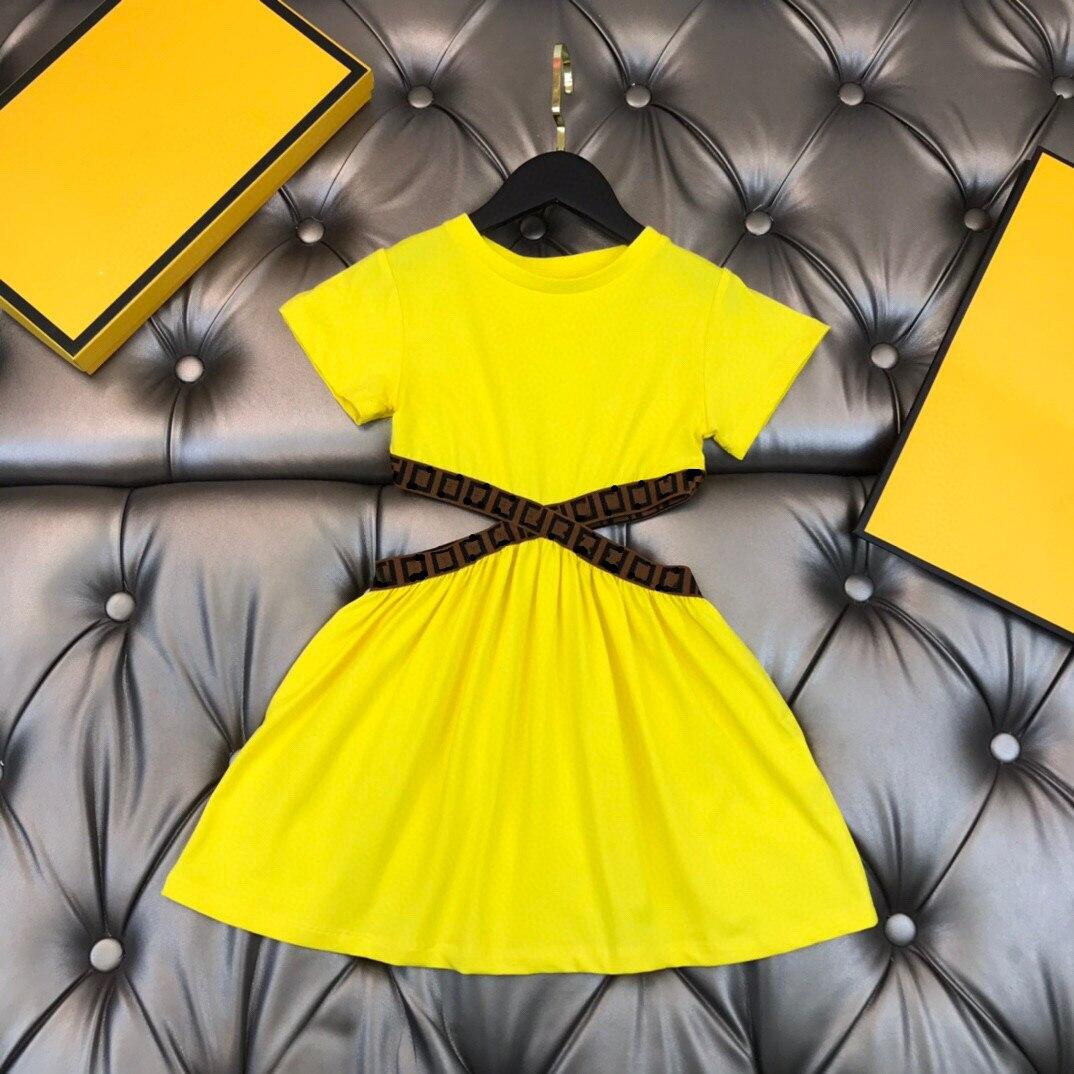 فستان صيفي للفتيات 2021 أصفر للأطفال ملابس خارجية ماركة بوتيك 2T-14T