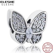 Eleshe ajuste pandora encantos pulseira 925 prata esterlina cz cristal contas de borboleta diy jóias fazendo dia dos namorados