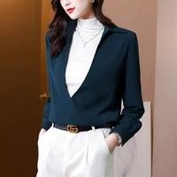 autumn womens shirts chiffon blouses for women fashion deep v neck blouse women long sleeve solid clothing female basic tops ol