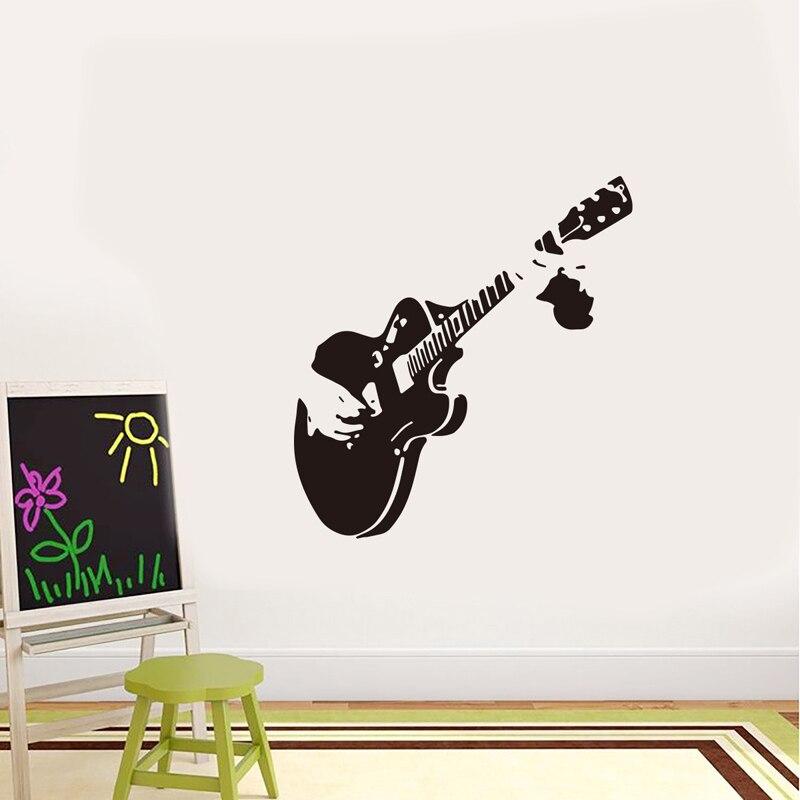 Música guitarra adesivos de parede sala música restaurante vitrine para decoração casa mural arte decalques esculpidos adesivos