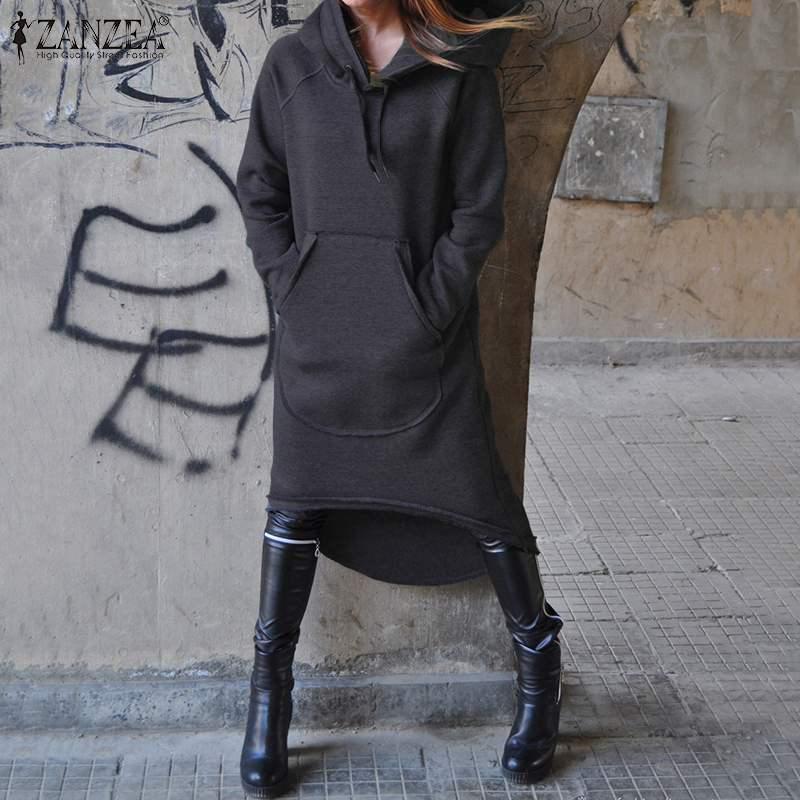 Moda ZANZEA mujer sudaderas con capucha otoño Casual suéter sudadera Vestido de manga larga Irregular Hem largo Vestido 7