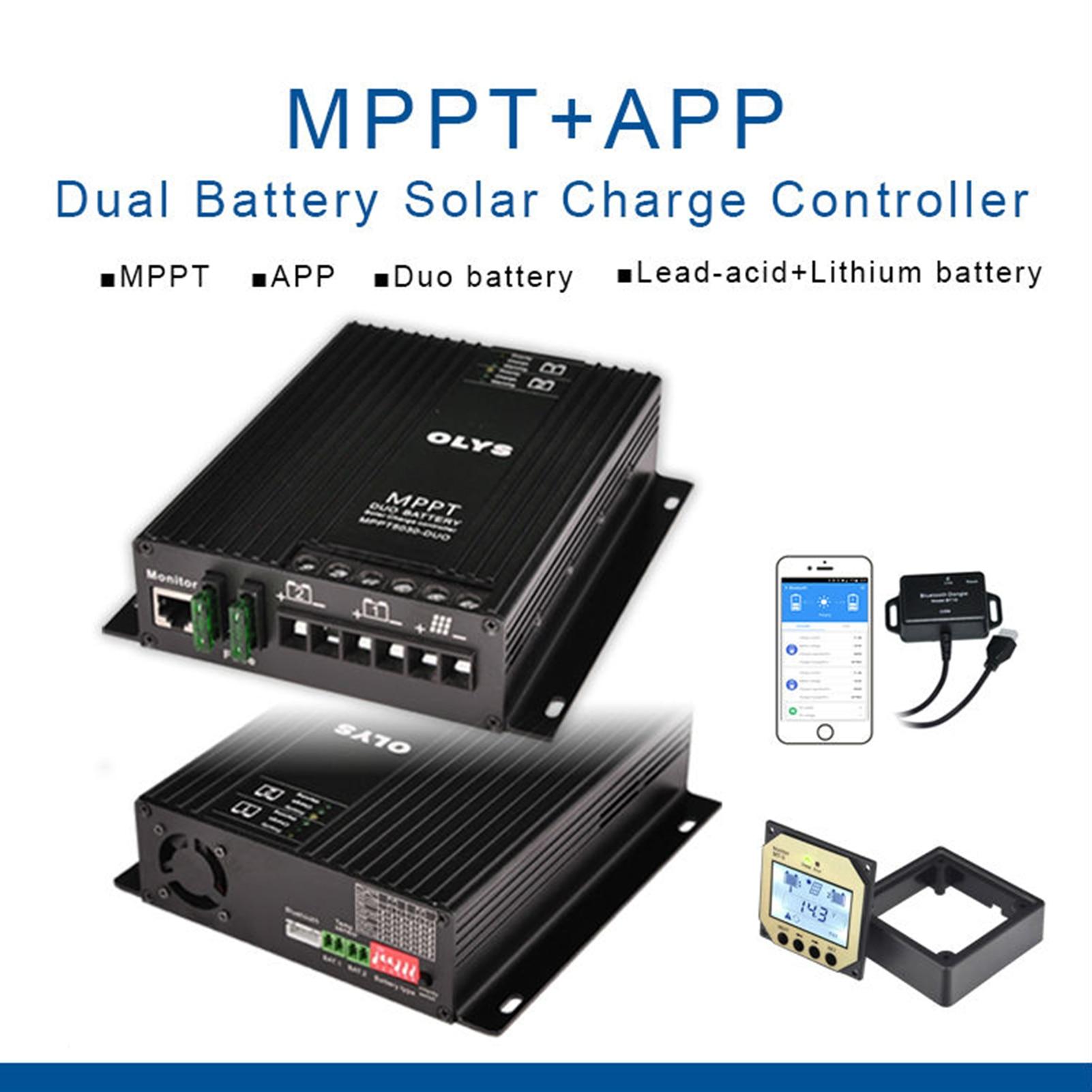 جهاز تحكم يعمل بالطاقة الشمسية MPPT5030-DUO بطارية مزدوجة شحن MPPT جهاز تحكم يعمل بالطاقة الشمسية مع شاشة عرض بلوتوث