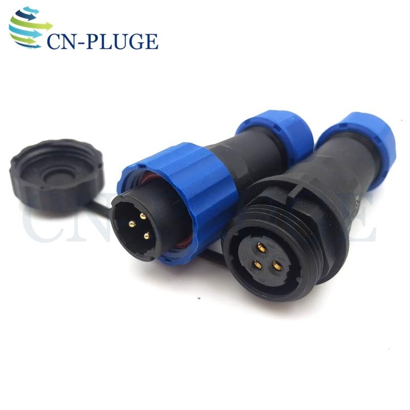 Conector a prueba de agua SP16 3 pin, Cable de alimentación LED para aviación conectores de conexión macho y hembra IP68