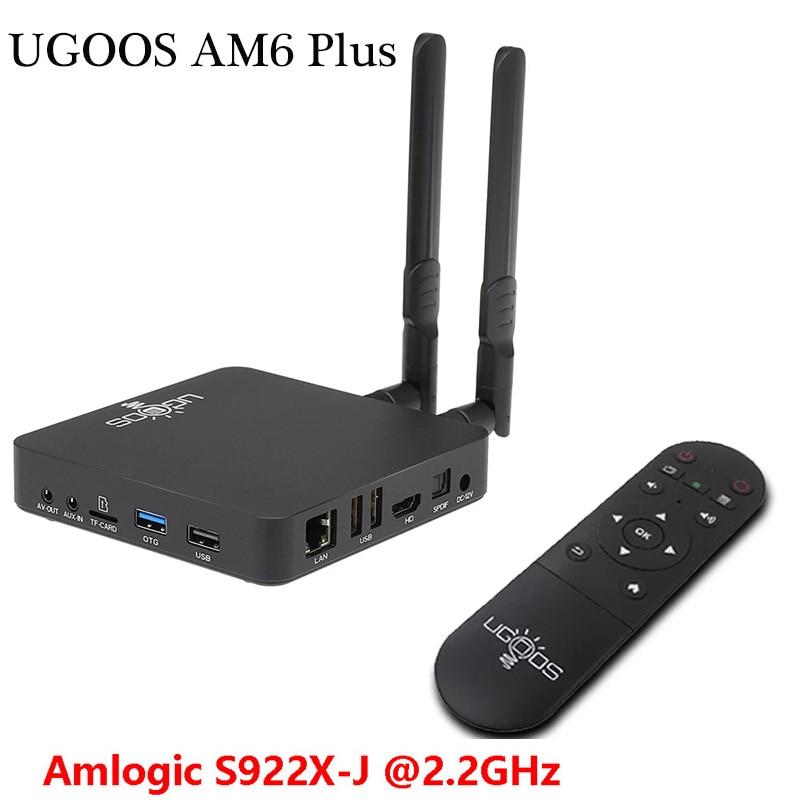 Ugoos android 9.0 smart am6 plus caixa de tv amlogic S922X-J 2.2ghz 4gb ddr4 32gb 2.4g 5g wifi 1000m bt5.0 smart media player tvbox