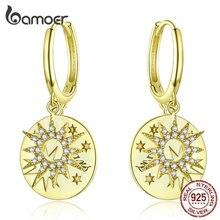 Bamoer étoiles dorées boucles doreilles rondes avec breloque véritable 925 en argent Sterling déclaration de mariage bijoux de luxe BSE260