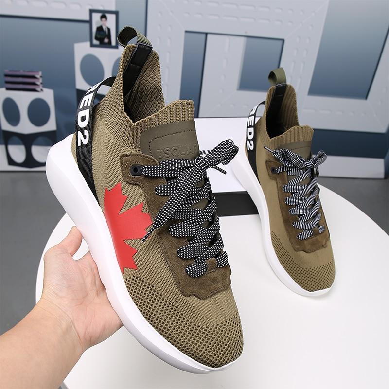 إيطاليا ماركة Dsquared2 الرجال النساء خفيفة الوزن احذية الجري خفيفة للغاية تنفس أحذية القيقب ليف أحذية مشي الفتيان أحذية رياضية