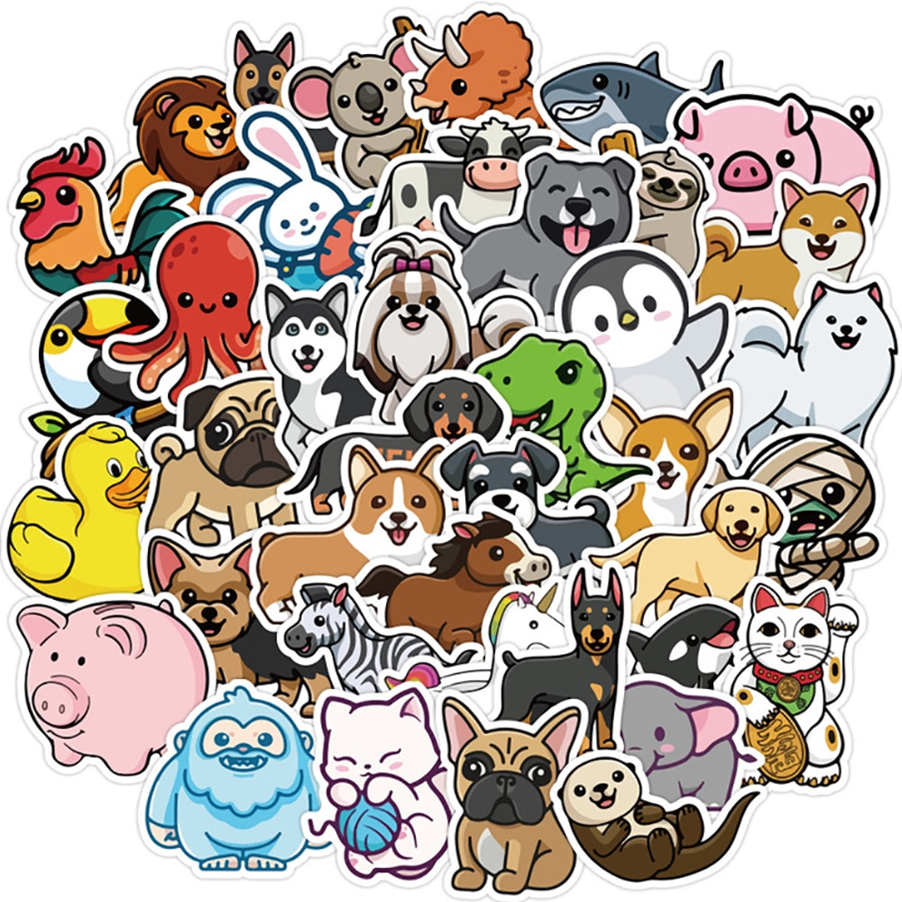50PCS Kawaii Animal Cartoon Stickers Skateboard Fridge Phone Guitar Motorcycle Luggage Classic Toy Decal Sticker Fun for Kid Toy