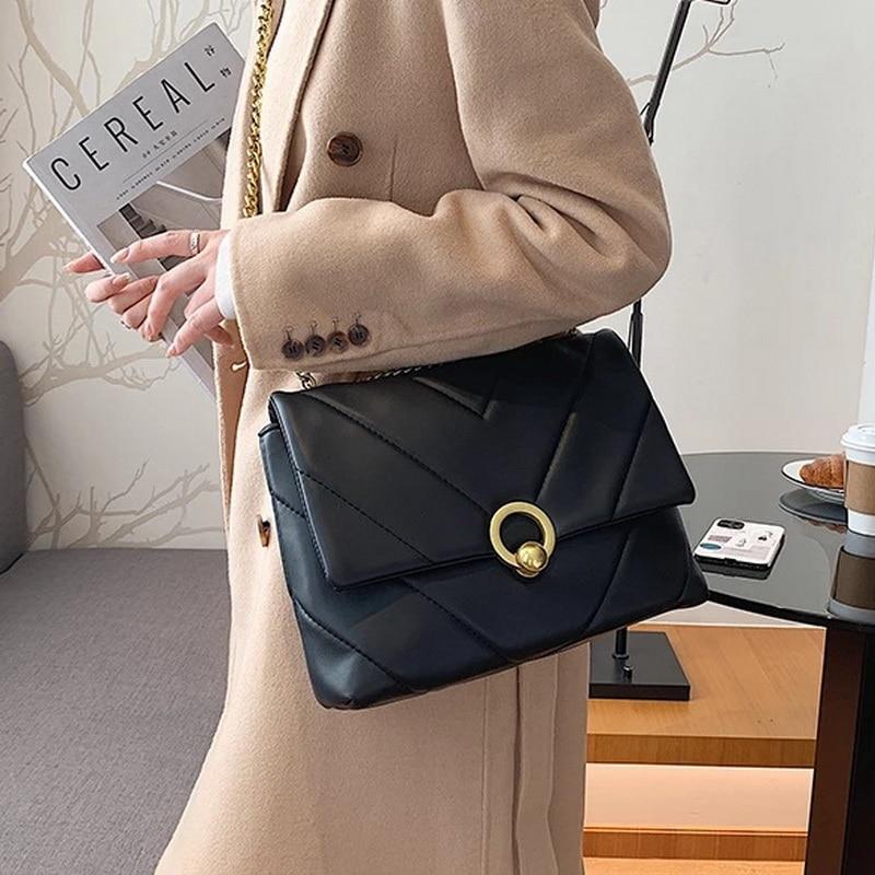 FUNMARDI Chain PU Leather Crossbody Bags for Women 2021 Brand Shoulder Bag Trend Designer Handbags Luxury Hand Bag Lady WLHB2222