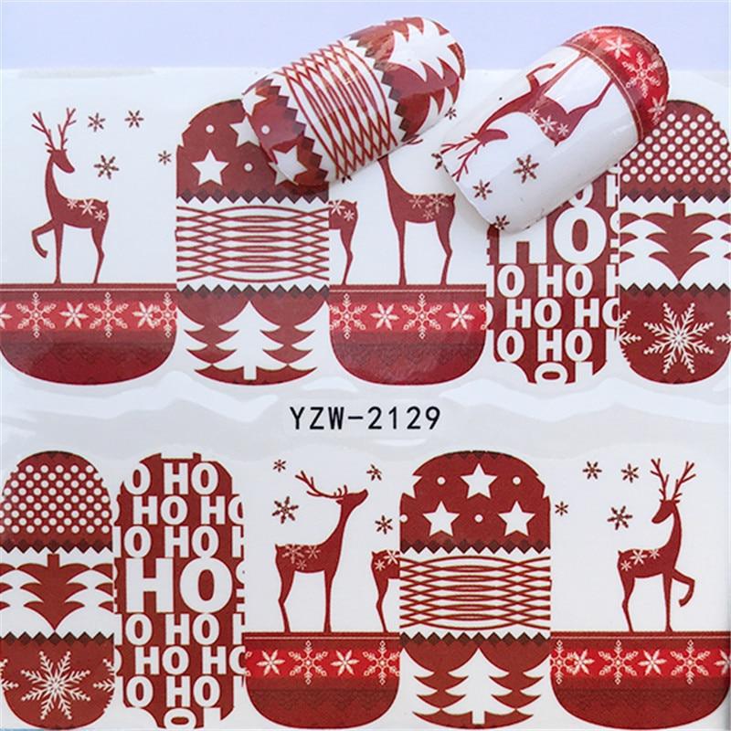 Calcomanías al agua para uñas 1 Uds., decoraciones de Año Nuevo adhesivos para uñas, regalo de Papá Noel, deslizadores, manicura tatuaje, Decoración, regalo