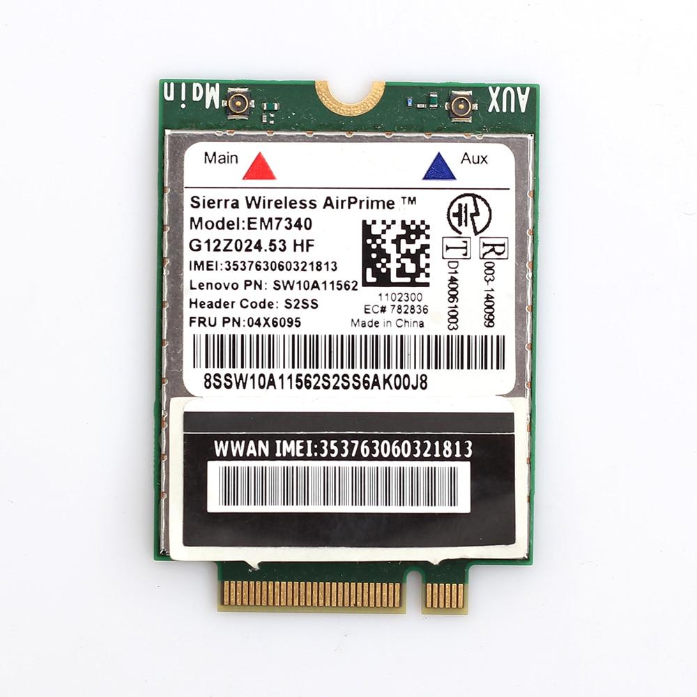 Wireless Sierra AirPrime EM7340 FRU 04X6095 4G LTE/HSPA Module For Lenovo ThinkPad 10/ Helix 2nd Gen/ X260 /T460/ T460S/T560