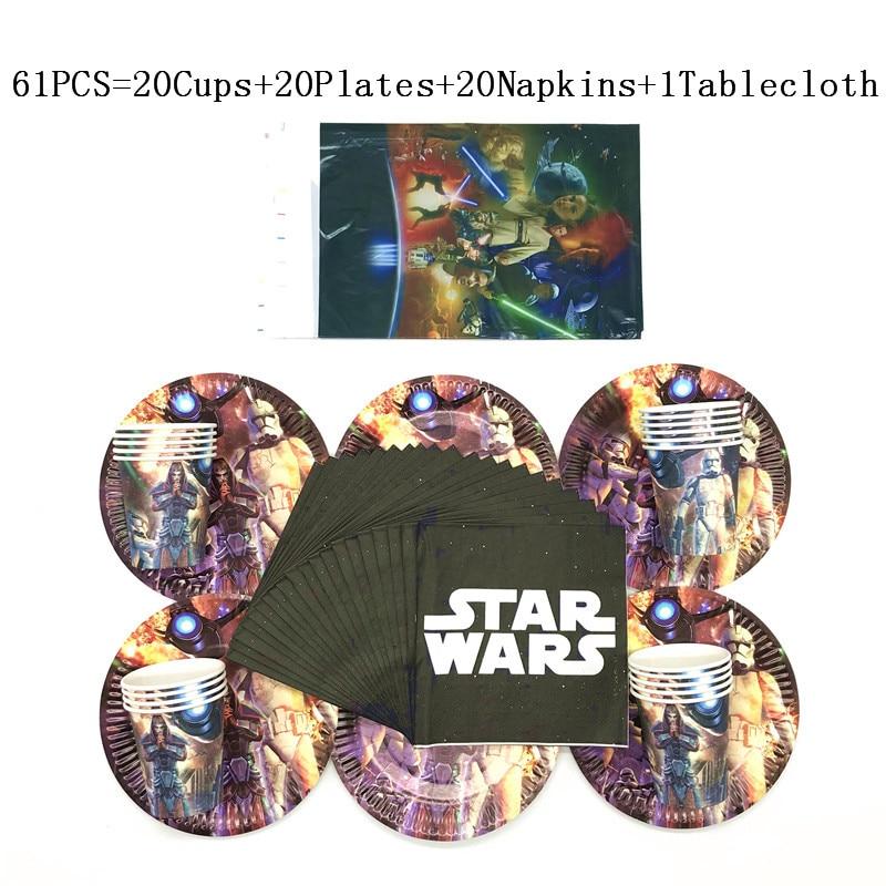 61 Pçs/lote Star Wars Tema Crianças Festa de Aniversário Copo de Papel de Mesa Guardanapo Prato Prato De Casamento Tablecover Fornecimento de Tecido de Vidro