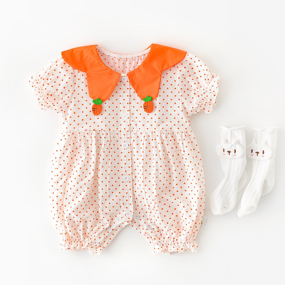 Yg brand children's clothing 2021 summer new carrot petal collar dot bubble sleeve one-piece baby cl