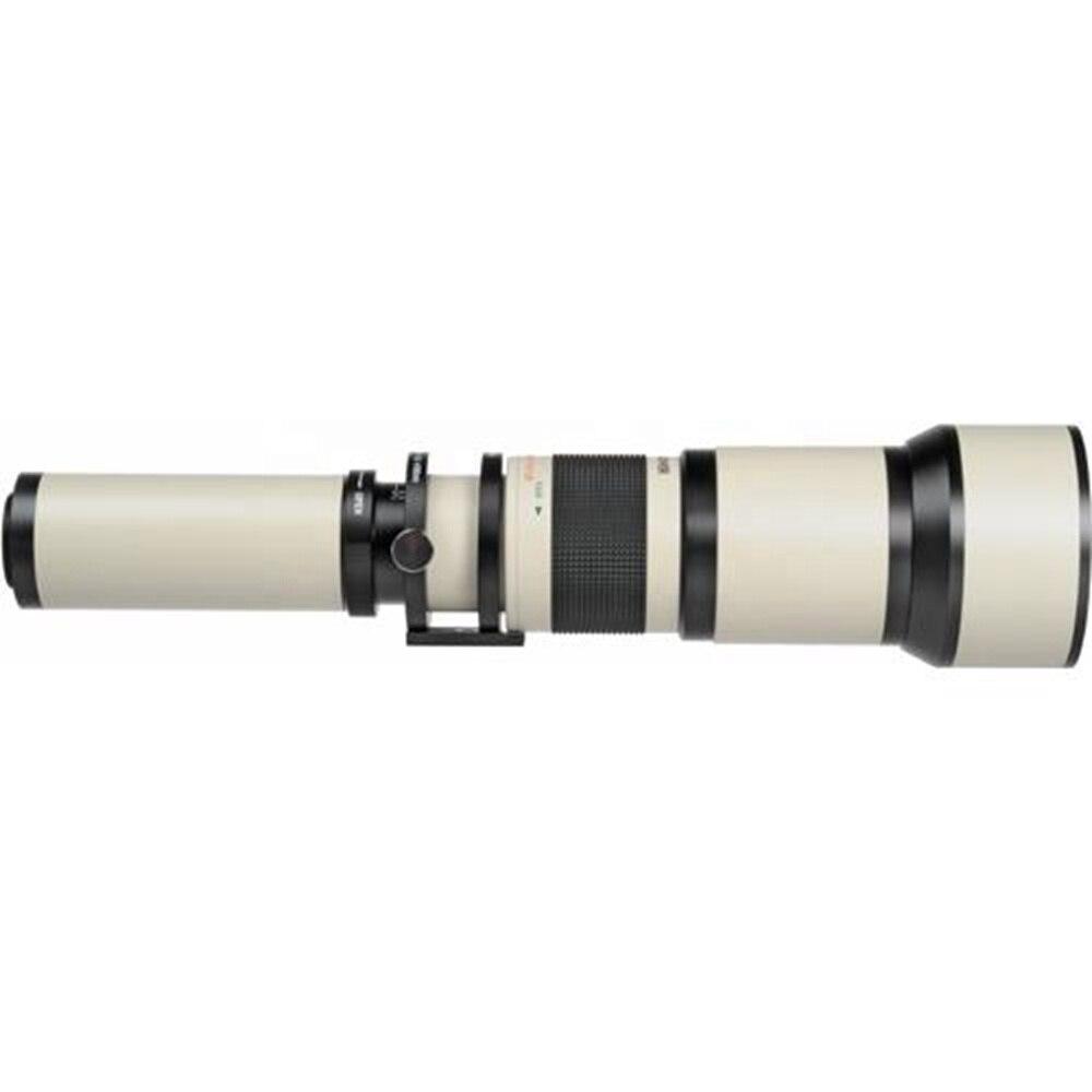 Manual fixed focus lens with 650-1300mm f/8-16 long range camera lens
