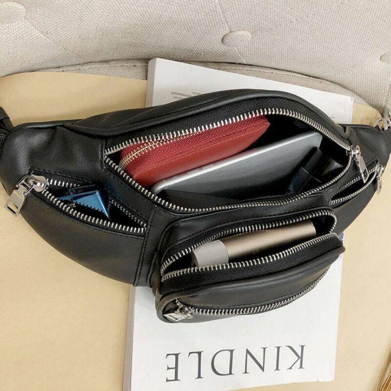 Men PU faux leather Waist Bags Chain Black Solid Fanny Pack Travel shoulder money Belt Purses wallets