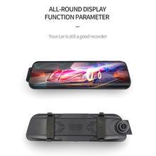 10 pouces écran tactile 1080P voiture DVR flux médias Dash caméra enregistreur vidéo double lentille rétroviseur caméra de sauvegarde