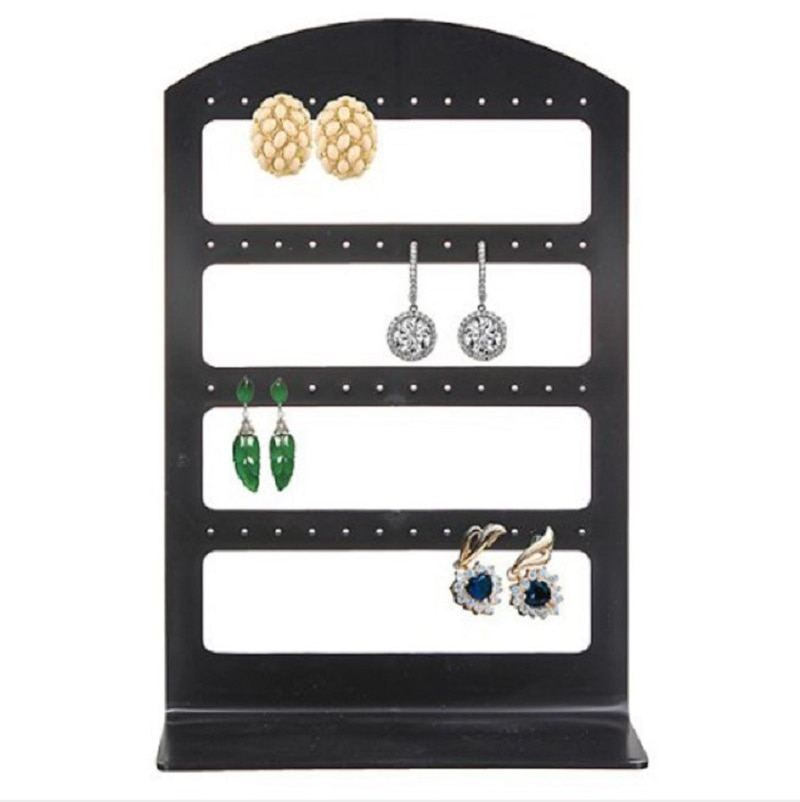 Simple 48 Holes Jewelry Organizer Stand Black Plastic Earring Holder Pesentoir Fashion Earrings Disp