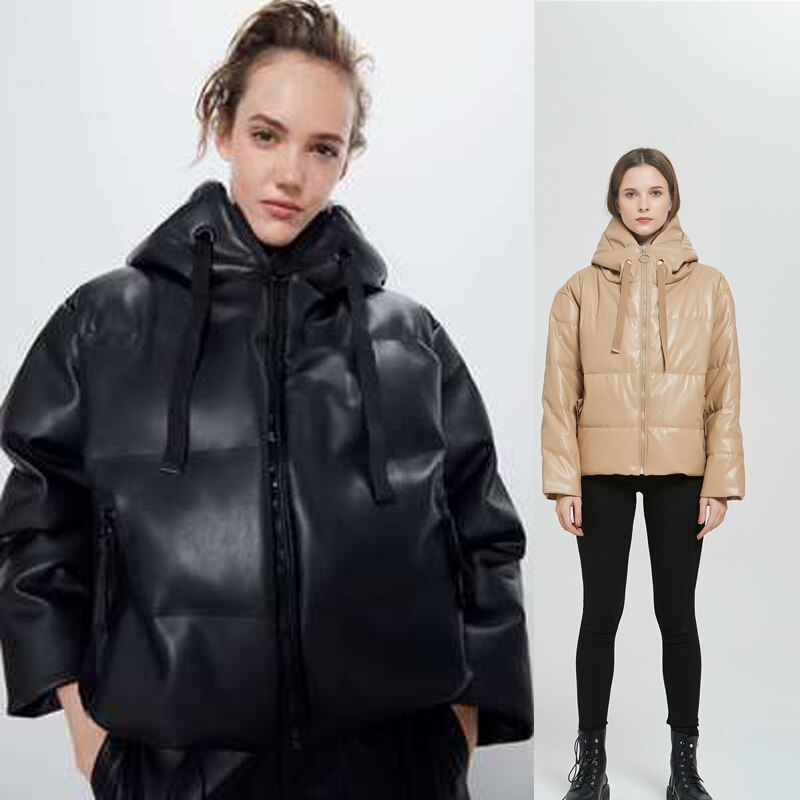 Winter Thick Warm Short Parkas Women Fashion Black PU Leather Coats Women Elegant Zipper Cotton Jackets