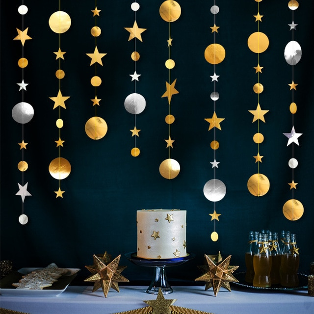 4m Circle Star Garland Paper Garland Banner Party Decoration Bunting Wedding Birthday Party Christmas Decoration Supplies