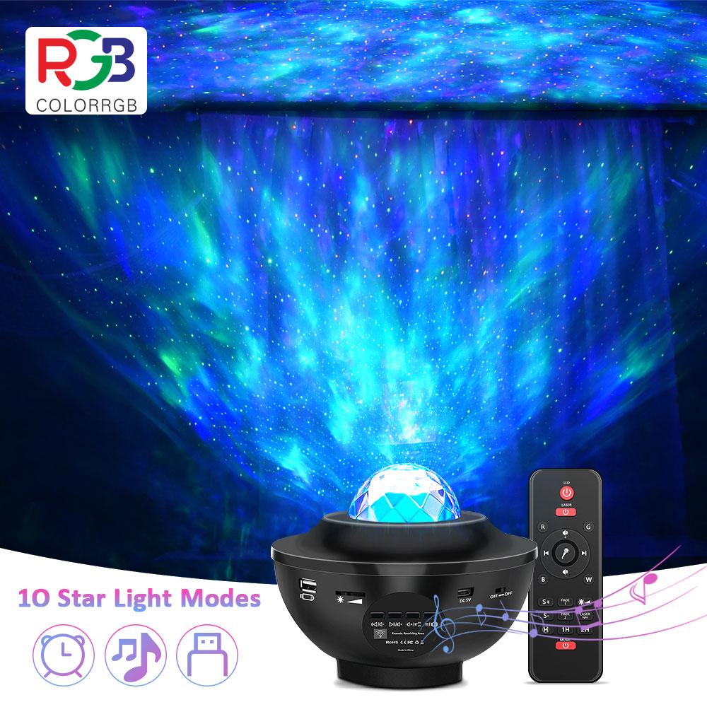 جهاز عرض LED مع ضوء النجوم للأطفال ، مشغل موسيقى ، USB ، بلوتوث ، مصباح موجة الماء ، حفلة ، زفاف