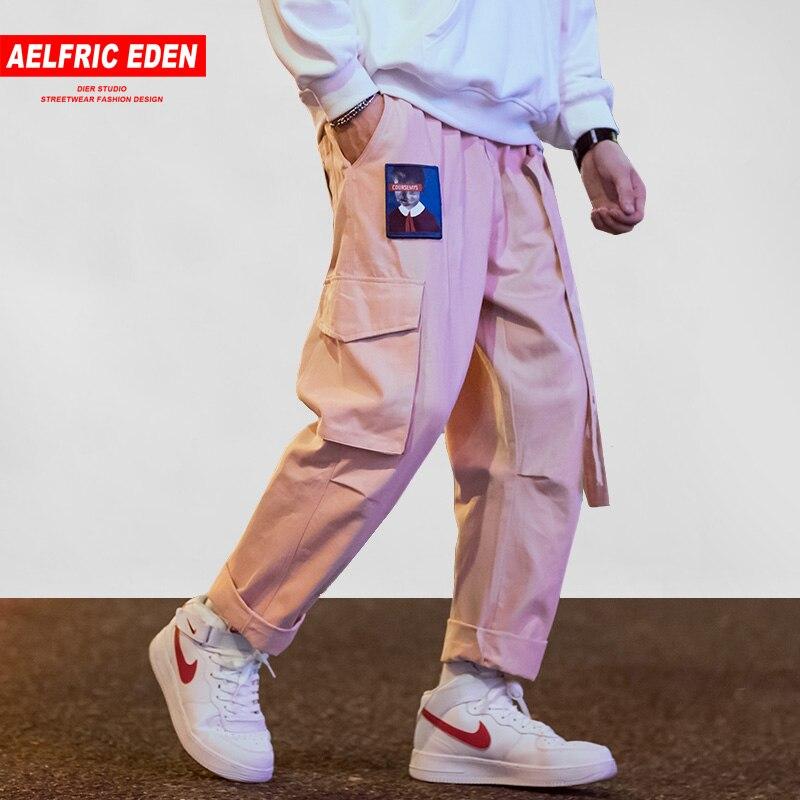 Aelfric Eden Японская уличная одежда брюки карго для мужчин и женщин с вышитыми лентами и буквами хип-хоп брюки для бега повседневные розовые шаровары брюки карго джоггеры мужские штаны с вышивкой