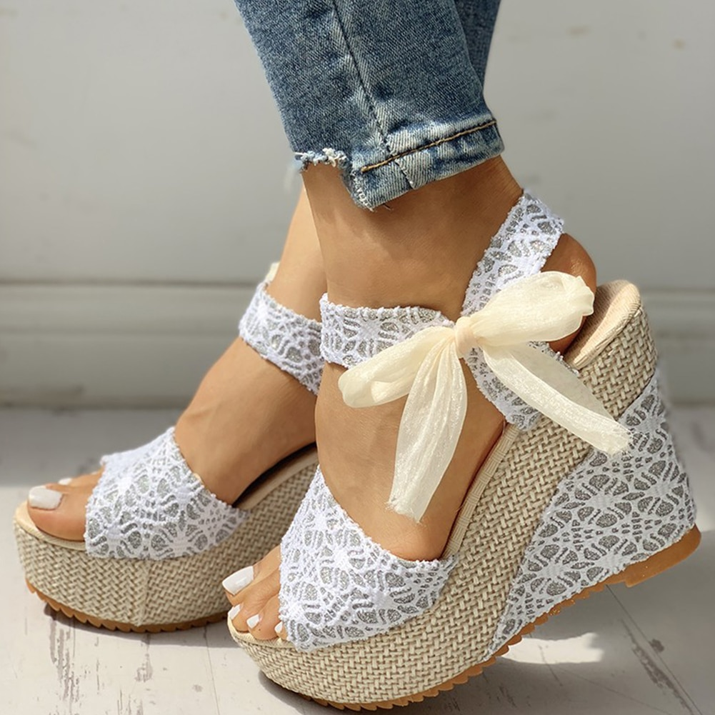 INS hot lace Leisure Women Wedges heeled women Shoes 2020 Summer Sandals Party Platform High Heels Shoes Woman