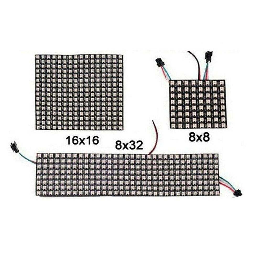 Luz del módulo de píxeles led de matriz 8*8 16*16 8*32 píxeles WS2812B WS2812 Panel Flexible Digital direccionable individualmente 5050 RGB 5V
