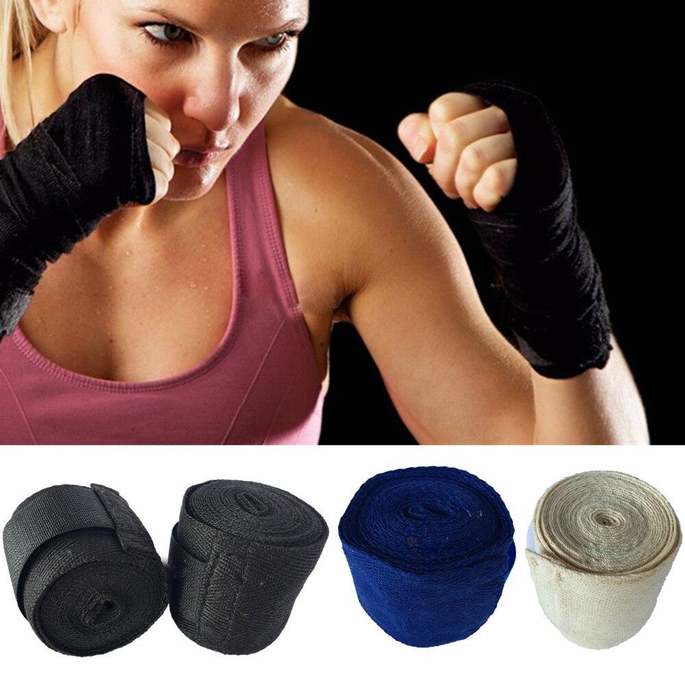 Algodón 2,5 m vendajes de boxeo proteger las manos atadas a mano Muay Thai Sanda Protector de mano bolsa correas de mano herramienta de protección de la mano