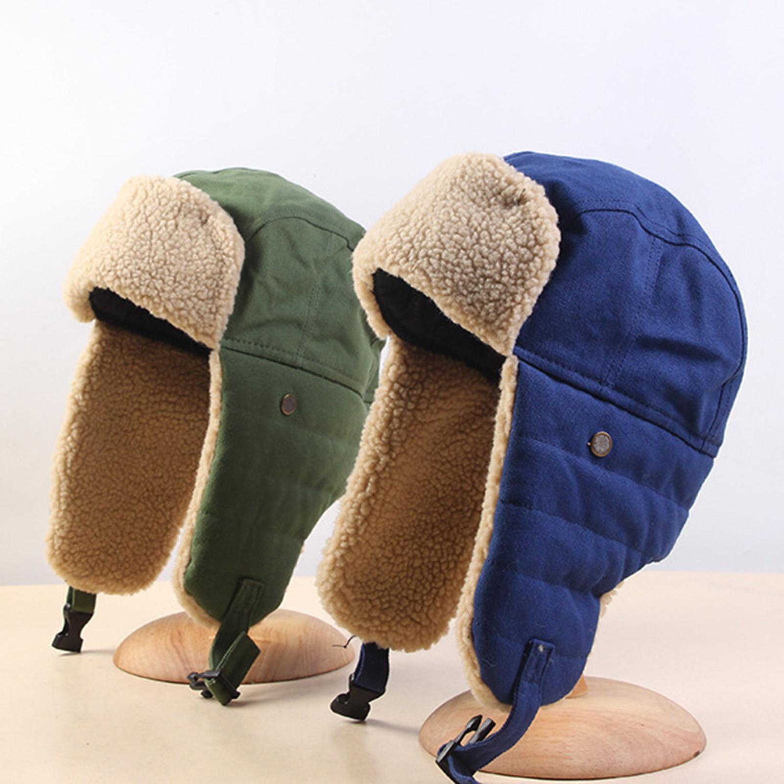 Men Women Winter Cycling Skiing Snow Cotton Hat Windproof Warm Bomber Hat Soft Earflap Cap Winter Sp